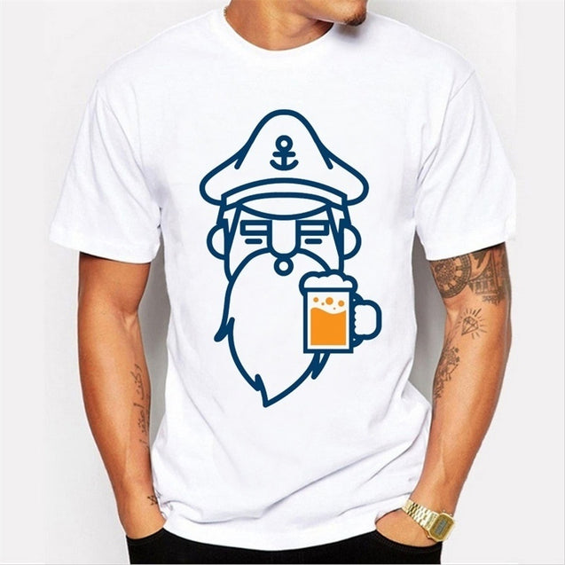 Newest Men Fashion Beer Man Design T Shirt Novelty Beard Printed Tops Gentleman Custom Printed Short Sleeve Tees