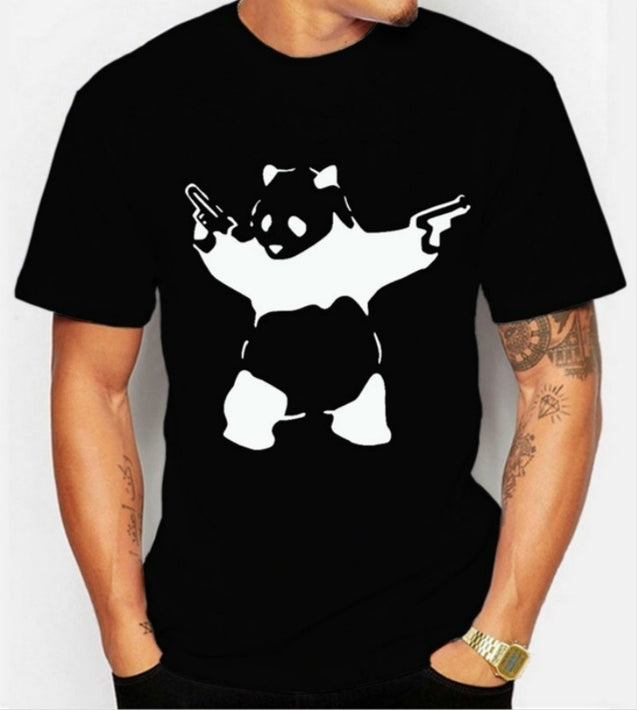 Panda Printed T shirt men black tops Tees harajuku 2016 summer brand funny geek