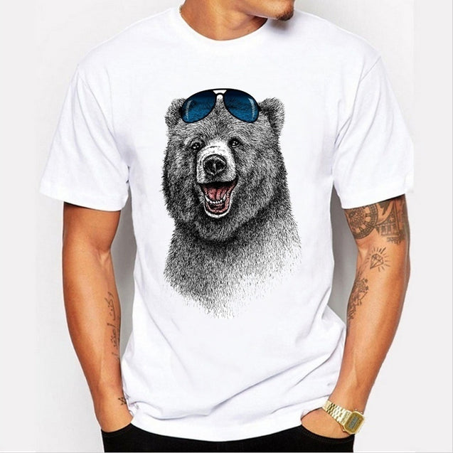 fashion 2017 Cheapest Fashion Laughing Bear Men T-Shirt Tee Tops Short sleeve men The Happiest Bear Retro Printed T Shirt Tee Topss Casual Funny Tops