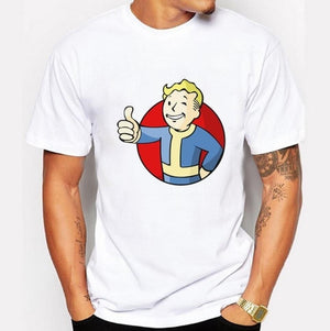 Fashion Game Fallout Printed White Men T-Shirt Tee Tops Fashion Game Male Short Sleeve Tops Hispter Tee for Boy