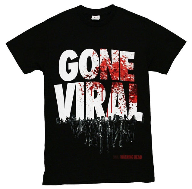 THE WALKING DEAD Gone Viral Zombies Splatter Logo T-shirt Tee Tops Mens Fashion Cotton Tee Shirts