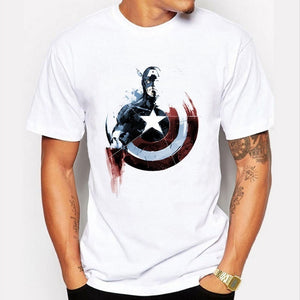 New Painted Deign Captain America T Shirt Cool America Captain T-shirt Shirt Tee Tops Men O-neck Tee Homme T Shirt