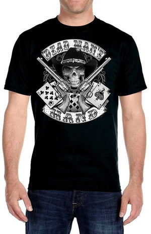 Summer Shirt Tops Tee-Fashion Tshirt Hip Hop Men Aces And Eights Dead Mans Hand Cowboy Skull Biker T-shirt Funny  Tees