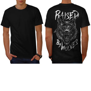 Raised By Wolves Wild Animal Men T-Shirt Shirts Tee Tops Back