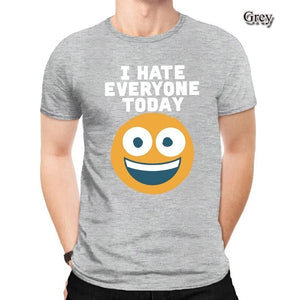 Emoji I  Hate Everyone Today Sarcastic Basic 90s Fashion Print Slim Fit Shirts For Men