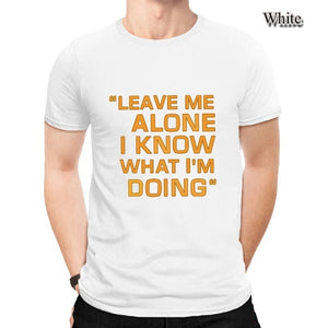 Leave Me Alone Print Letter Slim Fit Basic Pure Cotton Short Sleeve Casual Shirts For Men