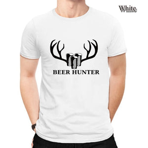 Beer Hunter Letter Print Beer Deer Graphic Simple Casual Slim Fit Shirts For Men