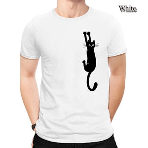 100% Cotton Funny Cat Casual Short Sleeve 90s Fashion Basic Simple Many Colors Shirts For Men