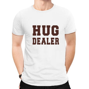 100% Cotton Short Sleeve Hug Dealer Letter Print Graphic Casual Round Neck Funny Plus size Shirts For Men