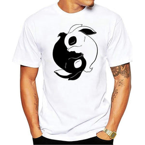 Yin Yang Rabbit Animal Bunny Lover Gift T-Shirt male Perfect Quality Casual Clothes For men T Shirts Short Sleeve Cotton