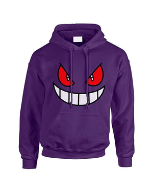 Fun Printed Gengar Face Printed Hoodie XS-2XL
