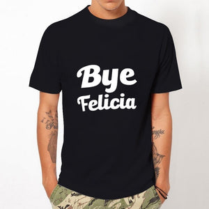 2017 Newest Men Fashion Bye Felicia Printed Design T shirt Casual Tops Short Sleeve Black White Tees