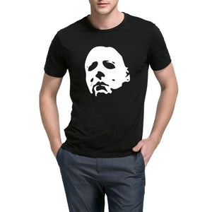 Mens  Halloween Movie Mask Casual Graphic T-Shirts Men short sleeves black Tee