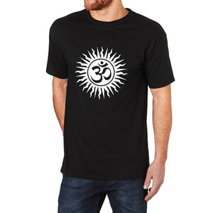 Om Aum Hindu Sanskrit God Symbol Black Funny Summer T-Shirt Men Short Sleeve Tee