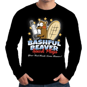 Personalized Mens Long Sleeve T Shirt Bashful Beaver Funny T-shirt for Men