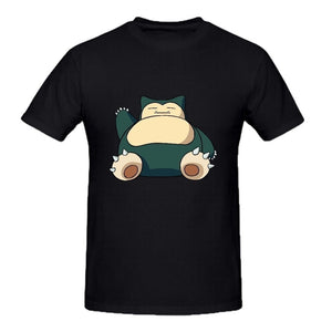 Custom Short Sleeve Pokemon Snorlax Round Neck Men T-shirt