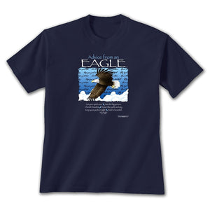 Advice from an Eagle - Unisex Blue Graphic T-Shirt