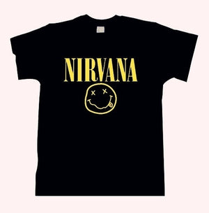 nirvana smiley face t shirt rock band kurt cobain nevermind in utero