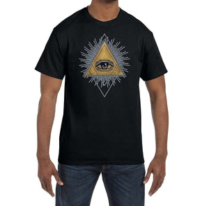 All Seeing Eye Gold Blue Triangle Masonic Men's Crewneck T-Shirt