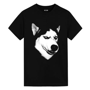New Husky Cotton Annoying Dog Animal Print Round Neck Short Sleeve Spoof Mens T-shirt
