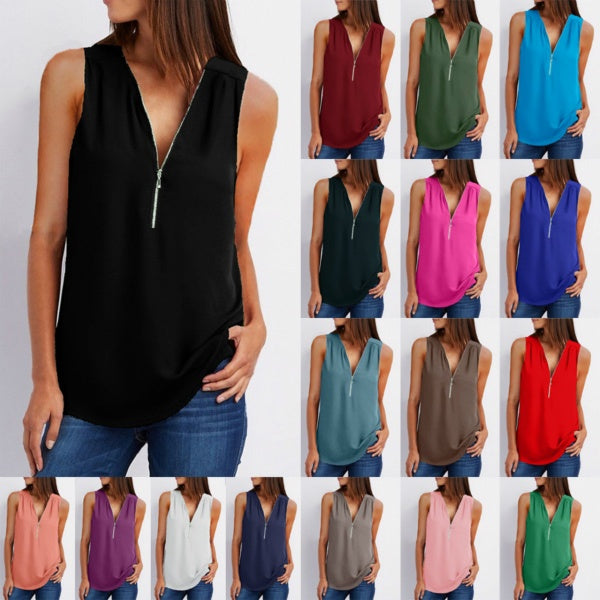 Women Casual Summer Loose Zipper Deep V Neck Vest Sleeveless Shirt Tank Tops Sexy Plus Size Top Chiffon T-Shirt Blouse 17 Color S-5XL