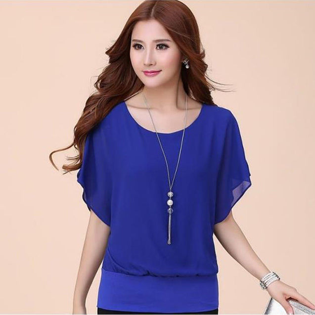Plus Size Slim Bat sleeve Chiffon Shirt Women Blouse Blusas Women Tops Clothing