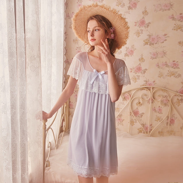 Princess Lace Sleeping Dress Summer Ice Silk Sexy Retro Palace Pajamas Sweet Short Sleeve Home Wear