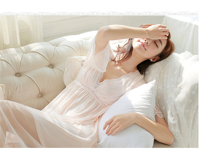 Lace court sleeping dress women spring and summer long style retro princess ice silk sexy v-neck pajamas