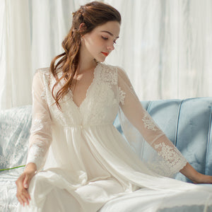 Palace Lace Dressing Gown Female Summer Two-piece Set Princess Gown Sexy Halter Dress Pajamas