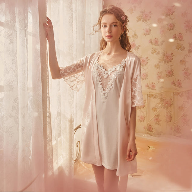 Princess Lace Sexy Condole Belt Sleeping Skirt Two Pieces of Female Summer Ice Silk Court Pajamas
