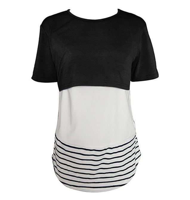 Women Nursing Shirts Short Sleeve T Shirt Lace Striped Breastfeeding Clothes Nursing Tops
