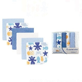 Luvable Friends 6Pk Ocean Wash Cloth (Assorted)