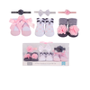 Luvable Friends 3pcs Baby Socks + 3pcs Headband Gift Set (Panda Pink)
