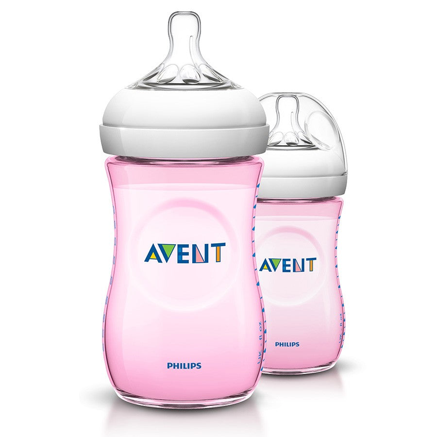 Philips Avent Natural Baby Bottle 260ml (Pink) Twin Pack