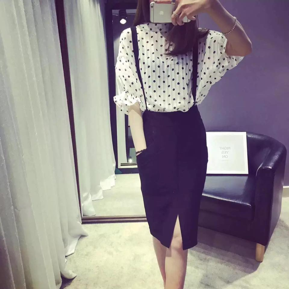 Gather Moments Chiffon Blouse with Suspenders Pencil Skirt (2 Pieces)