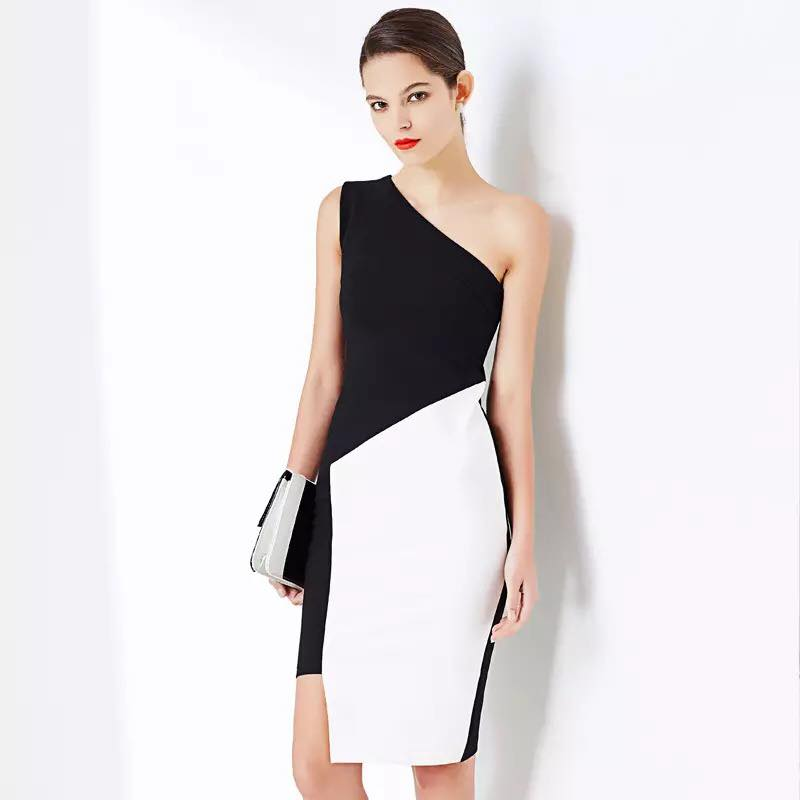 Gather Moments Black & White Monochrome Toga Pencil Dress