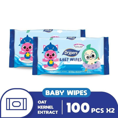 Drypers Natural Moisturing Baby Wipes 100's Twin Pack