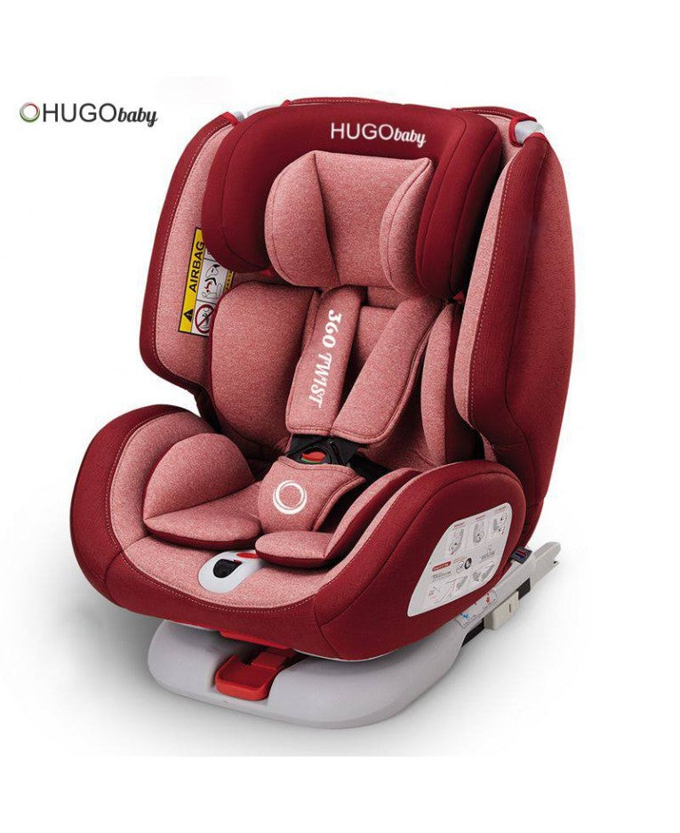 Hugo Baby 360 Twist Car Seat (Red)  + FREE Gifts [6 Year Warranty]