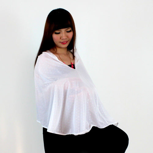 Fabulous Mom Nursing Poncho (Misty White)