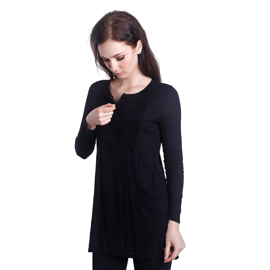 Laila Front Zipper Nursing Blouse (Black)