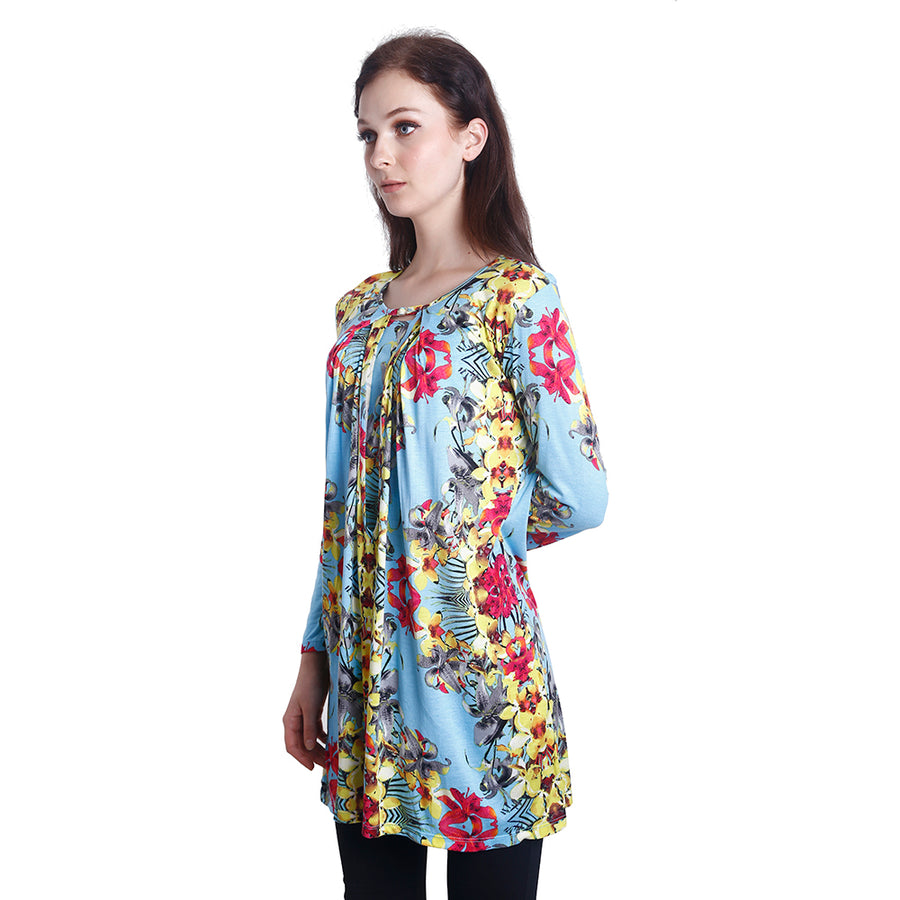Orkid Print Nursing Tunic Blouse (Blue)