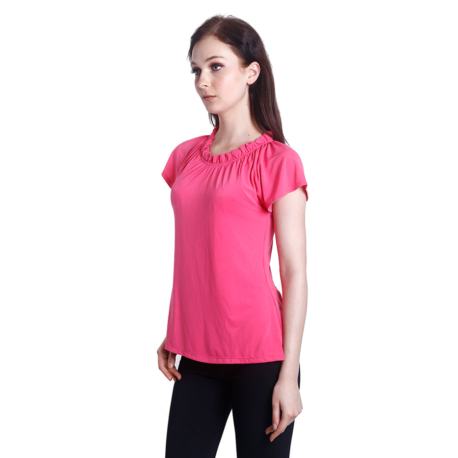 Anna Gathered Neck Nursing Blouse (Pink)