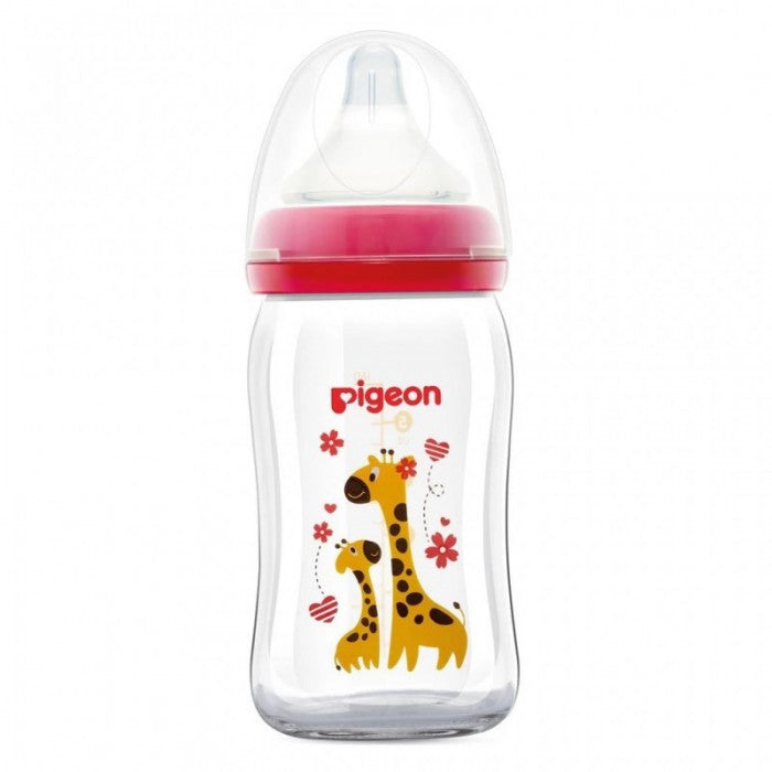Pigeon Softouch Peristaltic PLUS Wide Neck Nursing Bottle (Glass Design) - Animal