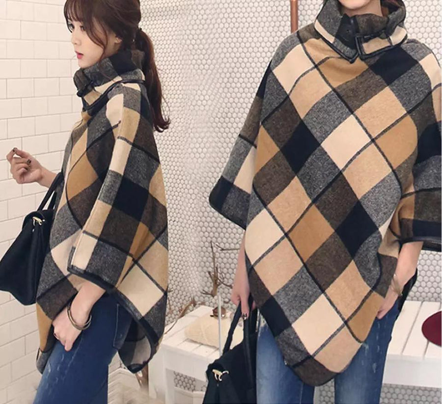 Gather Moments Wool Checked Poncho