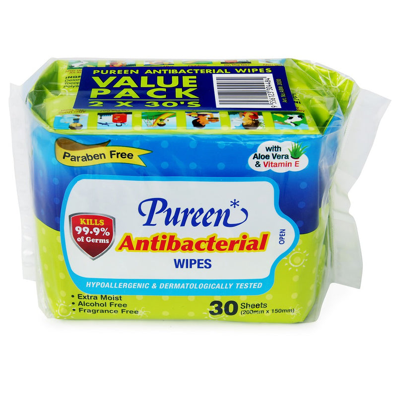 Pureen Antibacterial Baby Wipes 30's (Twins Pack)