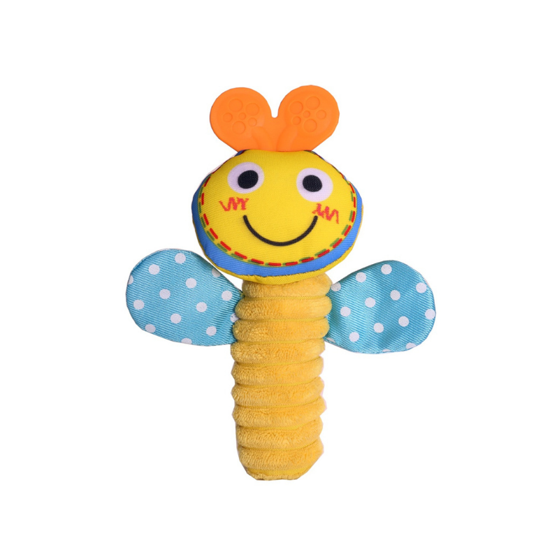 Biba Toys Squeakie Hand Toy - [Bee/Butterfly]