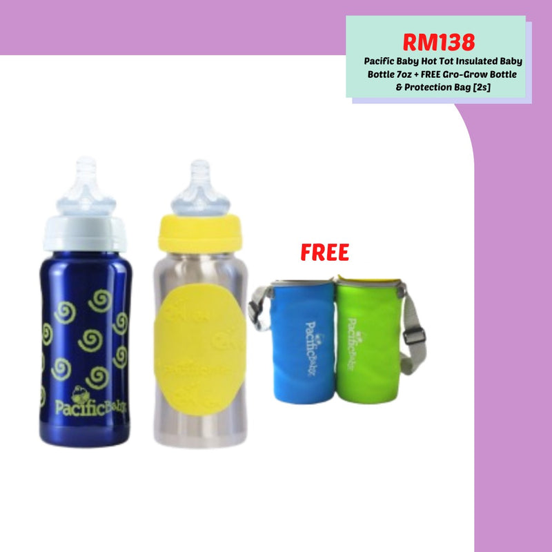 Super Deal Pacific Baby GroGrow Baby Bottle + Hot Tot Insulated Baby Bottle [ Free neoprene bottle sleeve ]