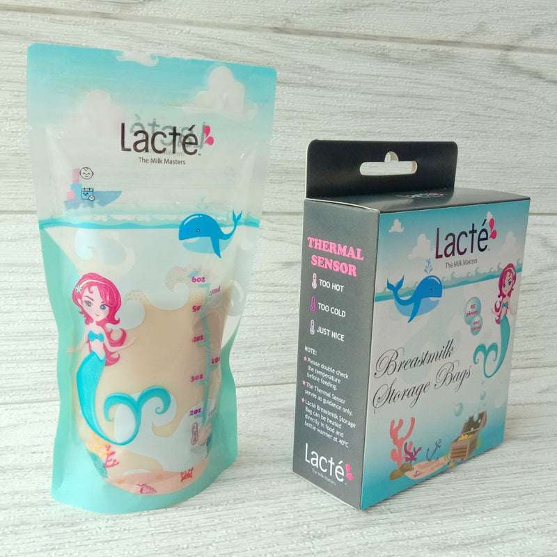 [9-11 Nov 3 days Only] Lacte Thermal Sensor Breastmilk Storage Bag (6oz) (25pcs) (Mystical Sea)