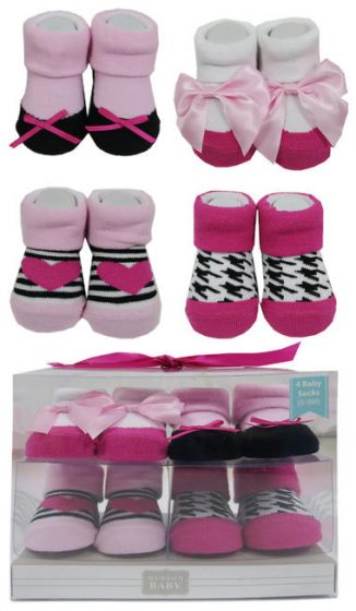 Luvable Friends Baby Sock 4pk 0-9m