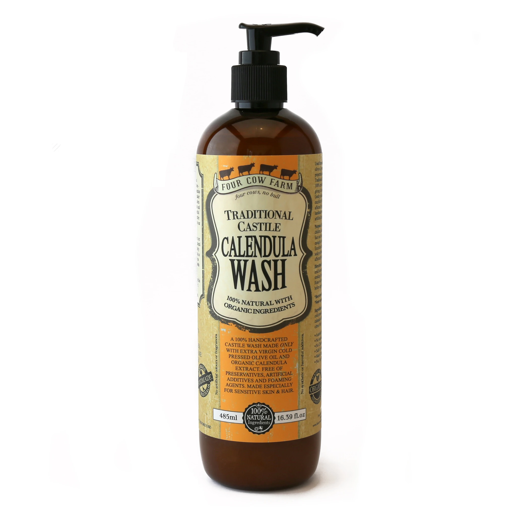Four Cow Farm Traditional Castile Calendula Wash (485ml)